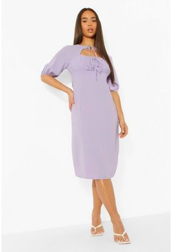 Lilac purple Linen Rouched Bust Tie Neck Midi Dress