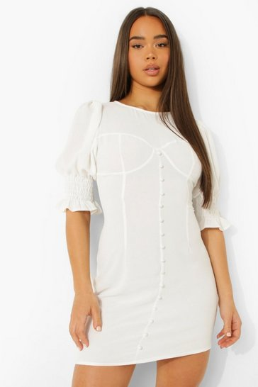White Linen Puff Sleeve Mini Dress