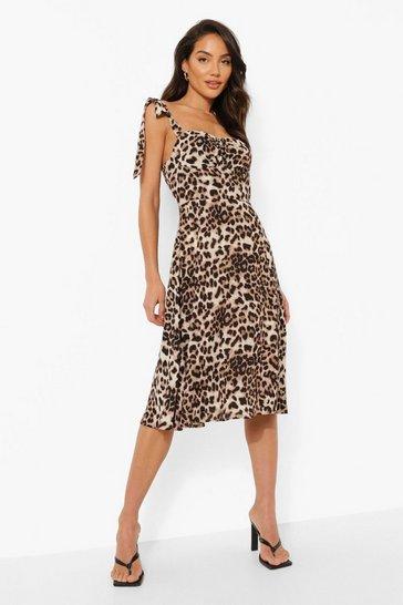 Brown Leopard Print Corset Detail Midi Dress