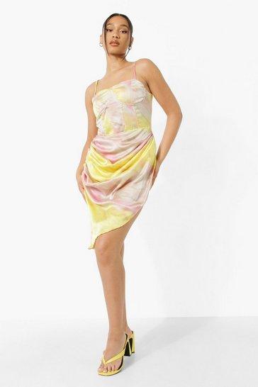 Yellow Marble Print Corset Midi Dress