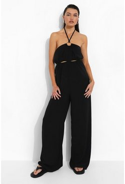 Black Linen Halterneck Cut Out Jumpsuit