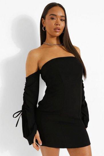 Black Linen Bardot Rouched Sleeve Mini Dress