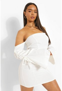 White Linen Bardot Rouched Sleeve Mini Dress
