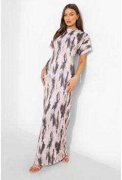 Stone beige Tie Dye Short Sleeve Maxi Dress