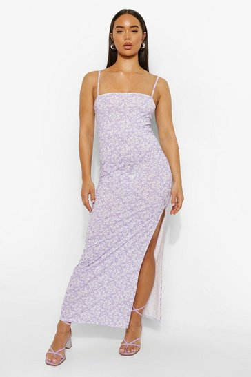 Lilac purple Ditsy Floral Side Split Maxi Dress