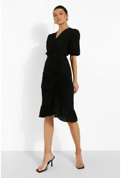 Black Linen Look Rouched Wrap Midi Dress