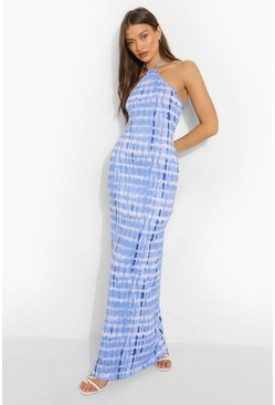 Blue Tie Dye Halterneck Maxi Dress