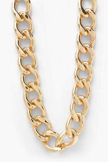 Gold metallic Rounded Chunky Chain Choker Necklace