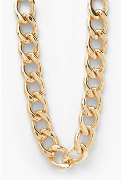 Rounded Chunky Chain Choker Necklace , Gold metallic
