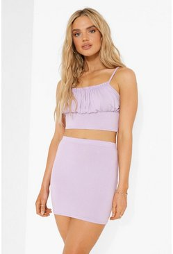 Lilac purple Ruched Crop & Mini Skirt