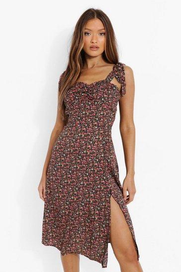 Black Ditsy Floral Corset Detail Midi Dress