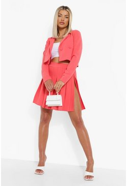 Coral pink Cropped Blazer & Pleated Tennis Skirt