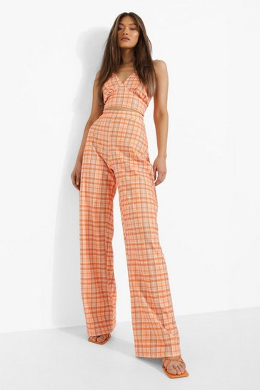 Orange Checked Collared Crop And Wide Leg Trousers