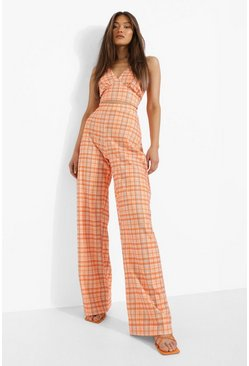 Orange Checked Collared Crop & Wide Leg Trousers
