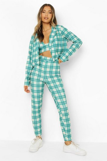 Emerald green Checked Blazer, Bralette & Skinny Trousers