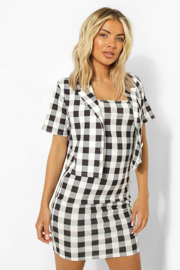 Black Gingham Cropped Blazer & Mini Slip Dress