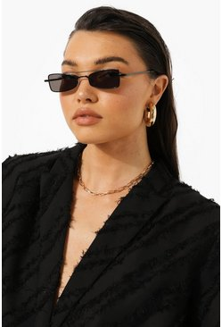 Black Slim Rectangle Sunglasses