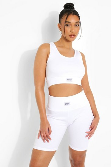 White Premium Ofcl Ribbed Gym Cycling Shorts