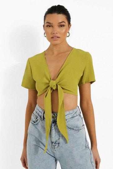 Lime green Green Linen Tie Bust Plunge Crop Top