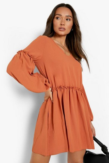 Coral pink Linen Look Balloon Sleeve Ruffle Detail Smock Dress