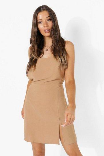 Camel beige Linen Look Strappy Low Back Split Mini Dress