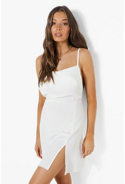 White Linen Look Strappy Low Back Split Mini Dress