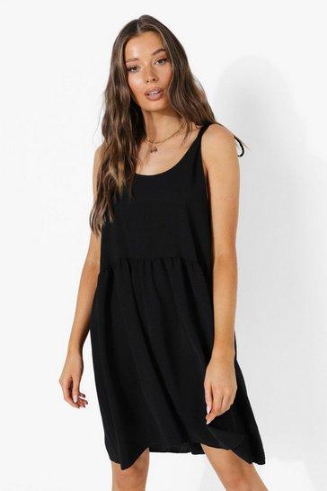 Black Linen Look Tie Shoulder Skater Dress