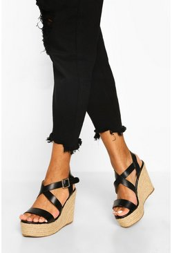 Black Wide Fit Crossover Buckle Wedge