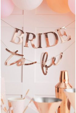 Ginger Ray 'Bride To Be' Bunting , Rose gold metallic