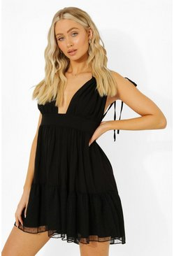 Black Double Strap Gathered Mini Dress