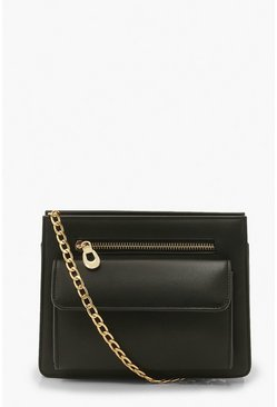 Black Front Pocket Cross Body Chain Bag