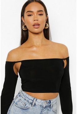 Black Off Shoulder Slinky Crop Top