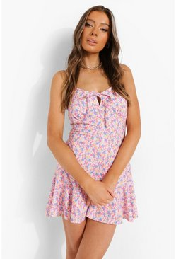 Floral Tie Front Flippy Playsuit, Pink rose