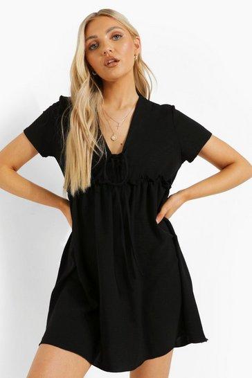 Black Linen Look V Neck Tie Detail Smock Dress
