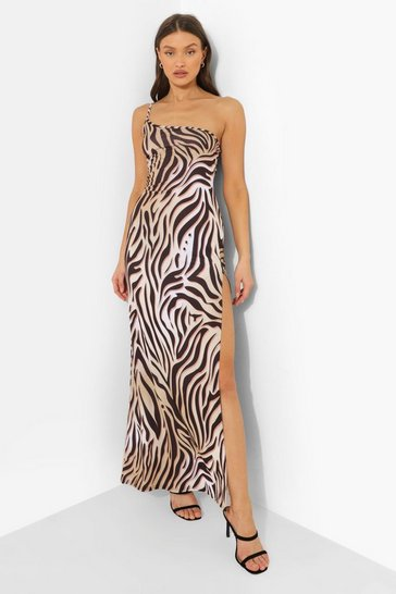 Brown Animal Print One Shoulder Maxi Dress