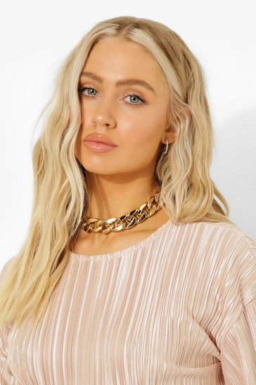 Gold metallic Flat Link Chunky Chain Necklace