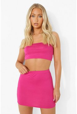 Magenta pink Bright Basic Bandeau & Mini Skirt