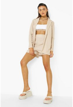 Sand beige Pinstripe Relaxed Fit Blazer & Mansy Shorts