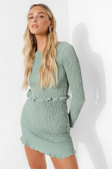Sage green Shirred Long Sleeve Crop & Mini