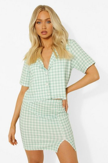 Sage green Gingham Cropped Blazer & Mini Skirt
