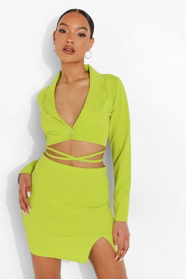 Lime green Tie Waist Cropped Blazer & Mini Skirt