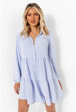 Powder blue blue Textured Smock Shirt Dress