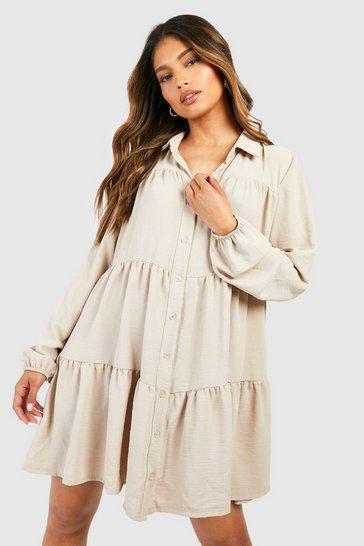 Stone beige Textured Smock Shirt Dress