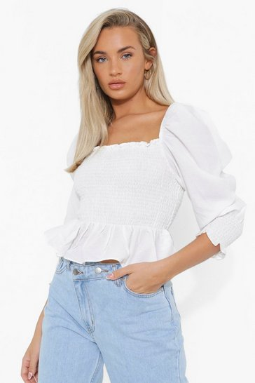 White Shirred Square Neck Puff Sleeve Top