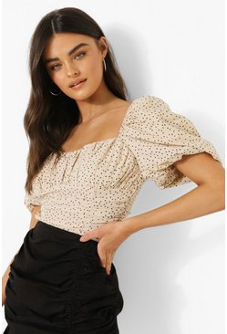 Beige Polka Dot Puff Sleeve Top