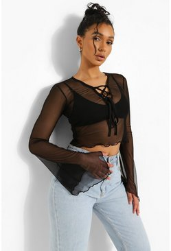 Lace Up Mesh Long Sleeve Top, Black schwarz