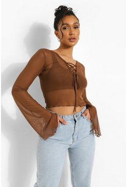 Lace Up Mesh Long Sleeve Top, Chocolate marron
