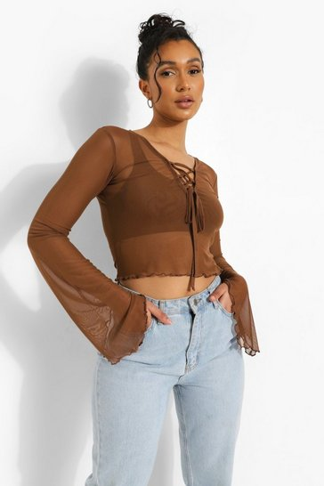 Chocolate brown Lace Up Mesh Long Sleeve Top