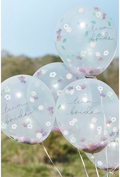 Ginger Ray Flower Confetti Filled Balloons, Ivory bianco