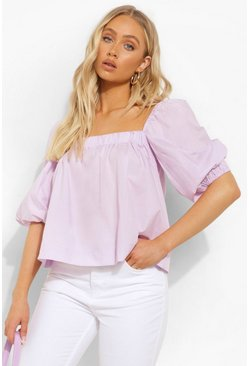 Lilac purple Balloon Sleeve Peasant Top